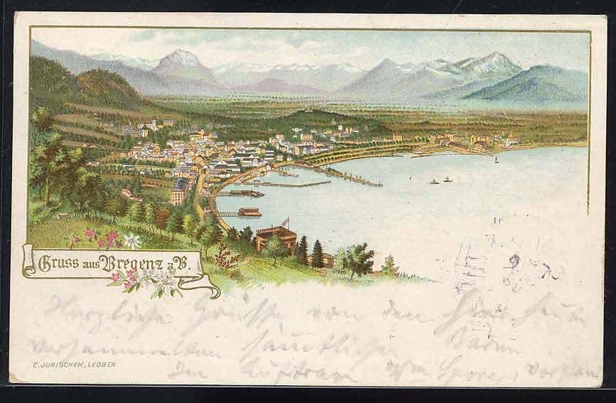 Bregenz auf einer alten Postkarte